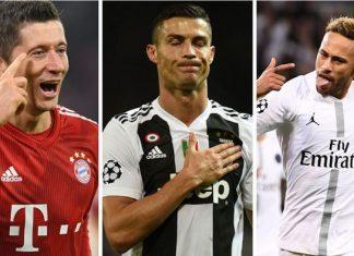Lewandoski, Cristiano Ronaldo y Neymar