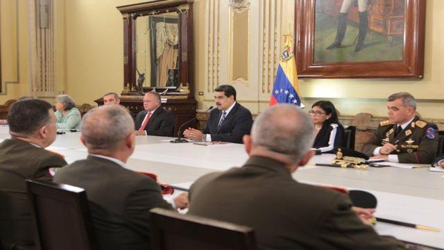 Nicolás Maduro durante el Consejo  de Defensa y Seguridad de la Nación.
