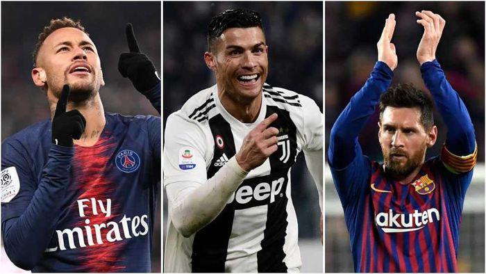 Neymar, Cristiano y Messi