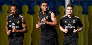 Militao, Casemiro y James Rodríguez, Real Madrid.