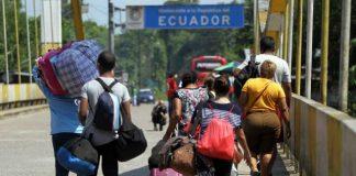 Venezolanos migrando a Ecuador