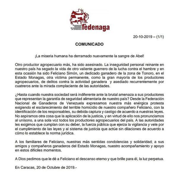 Comunicado de Fedenaga respecto a la muerte de un productor en Monagas.