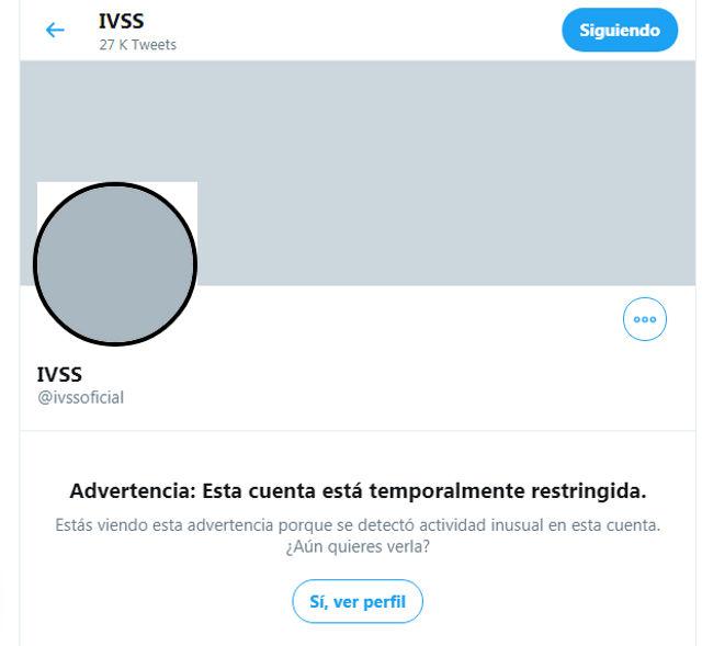 Cuenta de twitter del IVSS