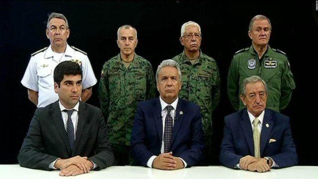 Lenín Moreno y el Alto Mando Militar de Ecuador.