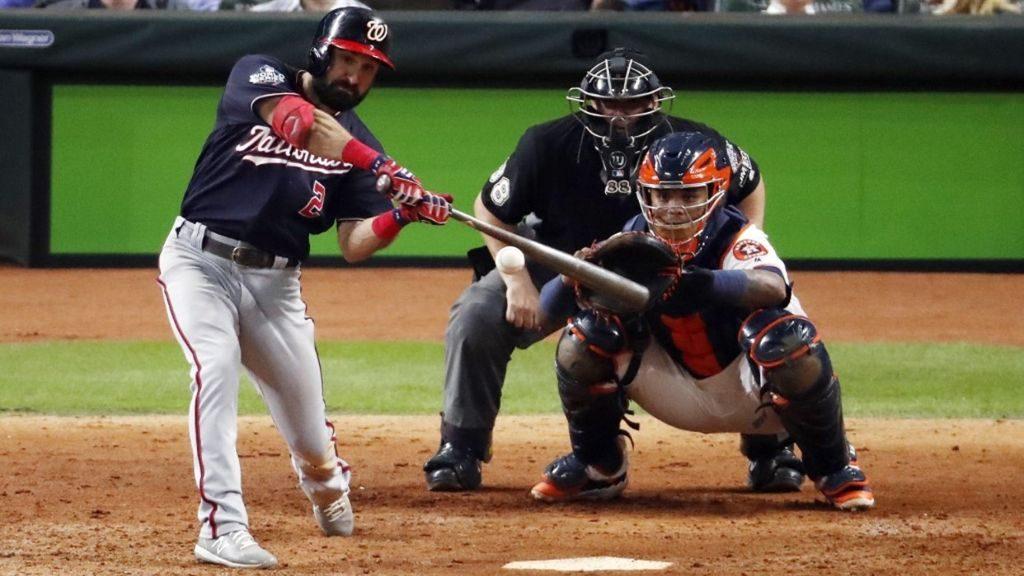 Adam Eaton conectó jonrón impulsor de dos carreras en el segundo juego de la Serie Mundial ente Nacionales de Washington y Astros de Houston.