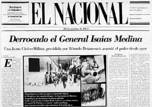 periodico informando la revolucion de octubre de 1945
