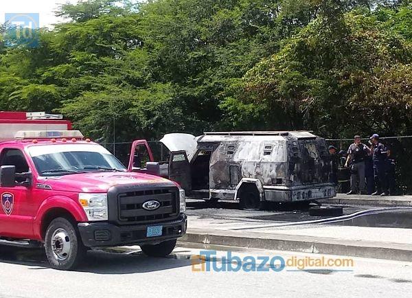 vehículo de transporte de valores incendiado en Guárico