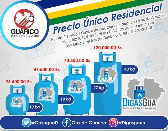 COJA DATO / Esto son los nuevos precios del Gas en Guárico