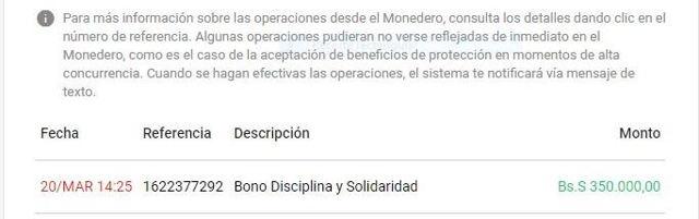 monto del Bono Discplina y Solidaridad