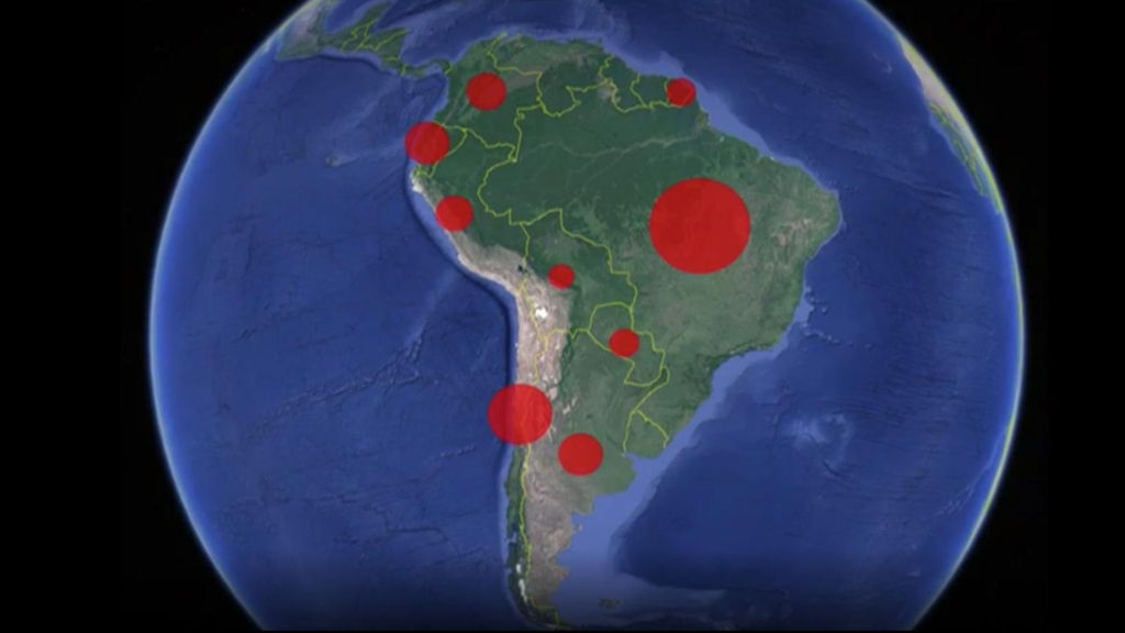 Casos de coronavirus en Sudamérica.