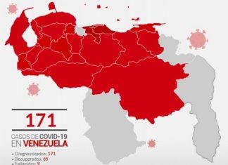 mapa estados coronavirus venezuela