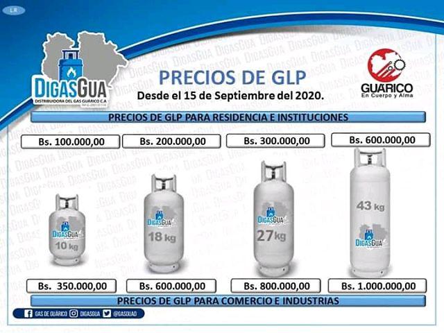 precios del gas en guárico